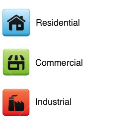 Residential, Commercial, and Industrial